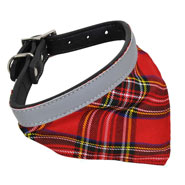 Reflector Dog Collar with Bandana, Checkered
