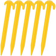 5x Ground Peg, 19.5cm - Two Hooks - Yellow