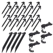 Premium Service Set for Nettings, Black, incl.  Pegs, Guy Ropes, Line Runners