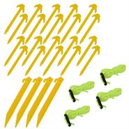 Premium Service Set for Nettings, Yellow, incl.  Pegs, Guy Ropes, Line Runners