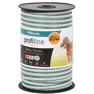 VOSS.farming Electric Fence Tape 200m, 10mm, 4x 0.4mm HPC® Ultra, White-Green, profiline