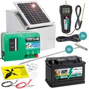 Complete Set: Dual-Power Energiser GreenEnergy + 12 W Solar + Box + 70  Ah AGM Battery