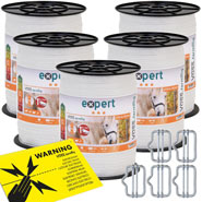 5x VOSS.farming Tape 200 m, 40 mm, 9x0,16 STST, White (Incl. 5 Connectors & Warning Sign)