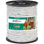 Electric Fence Rope 200m 8mm, 4x0.30 Copper + 4x0.3 STST, White-Green