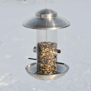 "Birdhouse, Feeding Station ""Smøllebird"", Small,17 x 28cm, Brushed Stainless St."