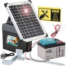 "VOSS.farming ""KAPPA 7 SOLAR"" 9V Electric Fence Energiser + 12W Panel + 12V Rechargeable Battery"
