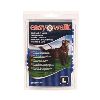 Easy Walk - Cat Harness with Bungee Lead, Large, Blue