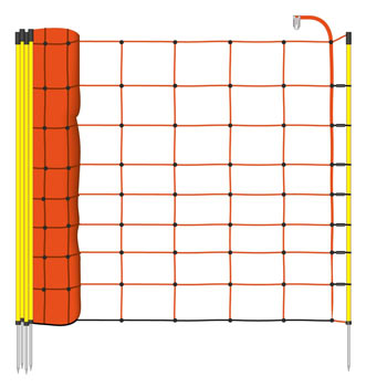 50m VOSS.farming Electric Fence Netting, Sheep Netting 90cm, 1 Spike, Orange