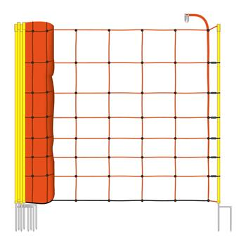 50m VOSS.farming Electric Fence Netting, Sheep Fence, Sheep Net, 90cm, 2 Spikes, Orange