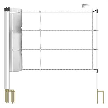 VOSS.farming 30.5 m Horse Netting 120 cm, 3 x 0.2 Stainless-Steel, 2 Spikes, White