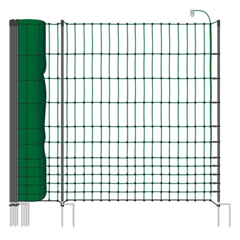 "50m Poultry Netting, 112cm, 2 Spikes, ""Green"", incl. 20 Posts, 2 Spikes, Electrifiable"