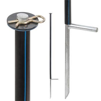 Support Post for Nettings, 120 cm, Ø 14 mm, Galvanised, Black