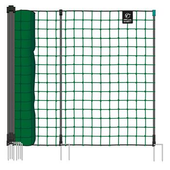 VOSS.farming farmNET Small Animal and Garden 50 m, 135 cm, 16 Posts, 2 Spikes, Green, Non-Electric