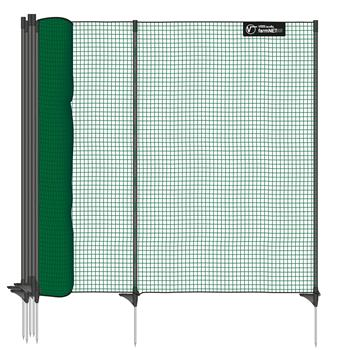 VOSS.farming classic 25m Boundary Fence, Netting Green, 90cm High, 15 Posts, 1 Spike, Green, Non-Ele