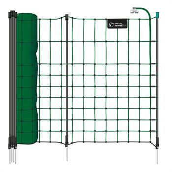 VOSS.farming farmNET®+ 50m Small Animal Electric Netting, 65 cm, 20 Posts, 1 Spike, Green