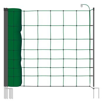 VOSS.farming classic 50m Electric Fence Sheep Netting, 90cm, 14 Posts, 2 Spikes, Fir Green