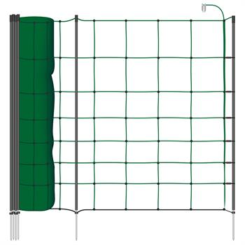 VOSS.farming classic+ 50m Electric Fence Sheep Netting, 90cm, 20 Posts, 1 Spike, Fir Green