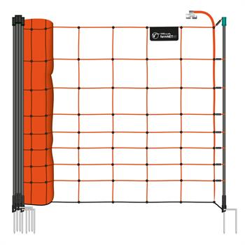 VOSS.farming farmNET 50m Sheep Netting, Goat Net, Electric, 108cm, 14 Posts, 2 Spikes, Orange