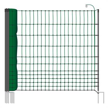 VOSS.farming classic 25m Chicken Fence, Poultry Netting, 112cm, 9 Posts, 2 Spikes, Green