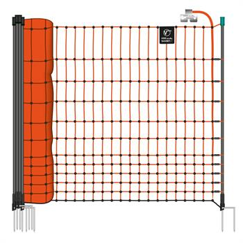 VOSS.farming farmNET 50m Poultry Netting, Chicken Net,  Electric, 112cm, 16 Posts, 2 Spikes, Orange