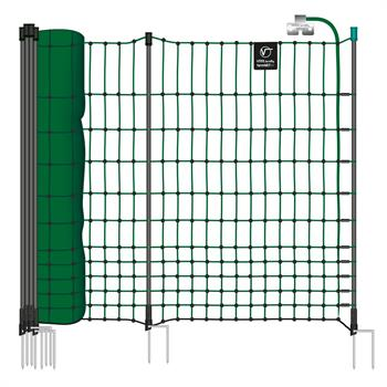 VOSS.farming farmNET+ 50m Chicken Netting, Poultry Net, Electric, 112cm, 20 Posts, 2 Spikes, Green