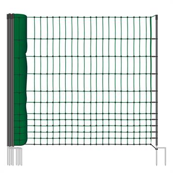 VOSS.farming classic 25m Chicken, Poultry Fence, Netting, 112cm, 9 Posts, 2 Spikes, Non-Electric