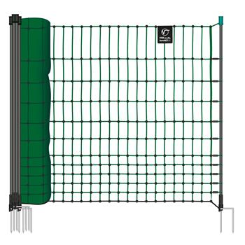 VOSS.farming farmNET 50m Chicken Netting, Poultry, Non-Electric, 112cm, 16 Posts, 2 Spikes, Green