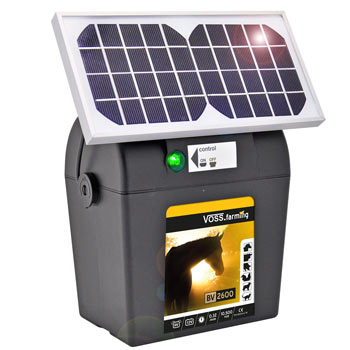 9V VOSS.farming BV 2600 SOLAR Electric Fence Battery Energiser, Solar Set