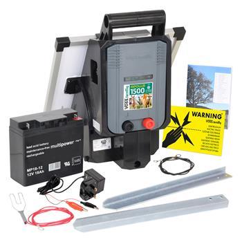 "VOSS.farming ""APOLLO 1500"" 12V Electric Fence Solar Energiser + 15W Solar Panel + 18Ah Battery"