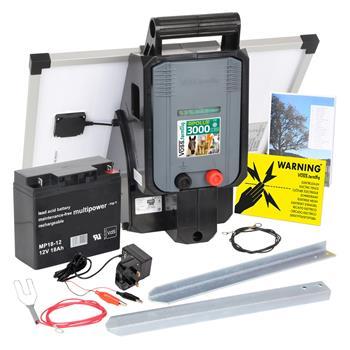 "VOSS.farming ""APOLLO 3000"" 12V Electric Fence Solar Energiser + 25W Solar Panel + 18Ah Battery"