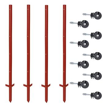 20x VOSS.farming Angle Steel Posts 165cm, 3mm, Double Step + 100x M6 Ring Insulators