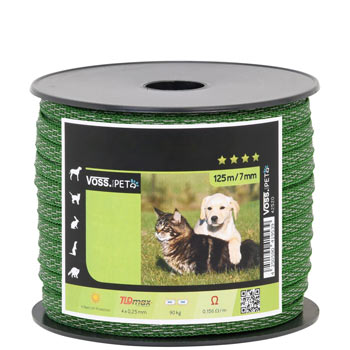 "Electric fence tape ""MiniPet"" 125 m, 7 mm, 4 x 0.20 TLD, green"