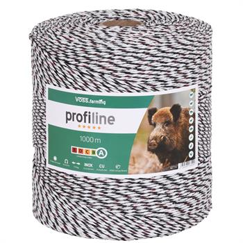 1000m VOSS.farming Electric Fence Polywire, 3x0.25 Copper + 3x0.20 Stainless Steel, White-Black