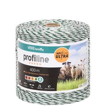 400m VOSS.farming Electric Fence Polywire, 3x0.4 HPC/Ultra, White-Green, Profiline