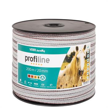 VOSS.farming Electric Tape 200 m /20 mm, 2x0.25 Copper + 4x0.20 STST, White-Black