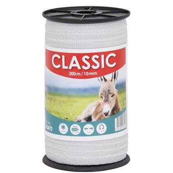 "Electric Fence Tape ""CLASSIC"" 200m, 10mm, 4x0.16 StSt, White"