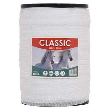 """Electric Fence Tape """"CLASSIC"""" 200m, 40mm, 8x0.16 StSt, White"""