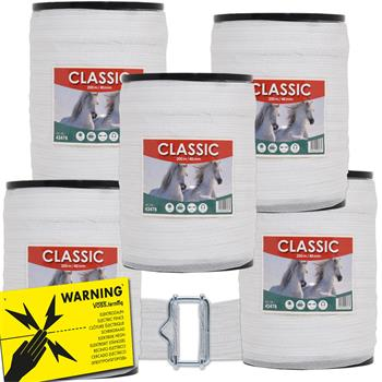 "5x Electric Fence Tape ""CLASSIC"" 200m, 40mm, 8x0.16 StSt, White + 5x Connectors + Sign"