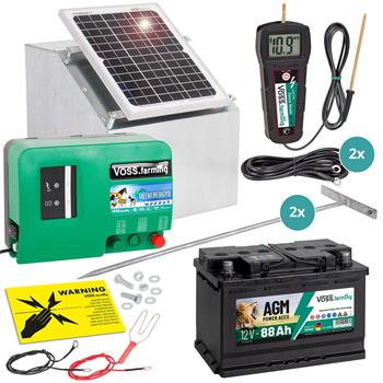 Complete Set: Dual-Power Energiser GreenEnergy + 12 W Solar + Box + 70  Ah AGM Battery