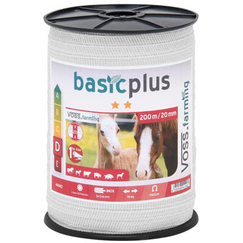 VOSS.farming Electric Fence Tape 200 m, 20 mm, 5x0.16 STST, White