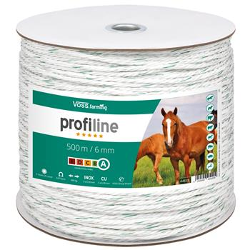 Electric Fence Rope 500m 6mm, 3x0.30 Copper + 3x0.3 STST, White-Green
