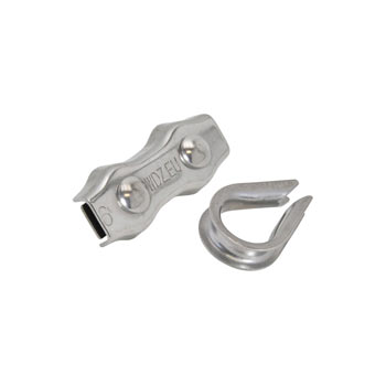3x VOSS.farming Rope Connection Kit with Thimble, STAINLESS STEEL, 6mm