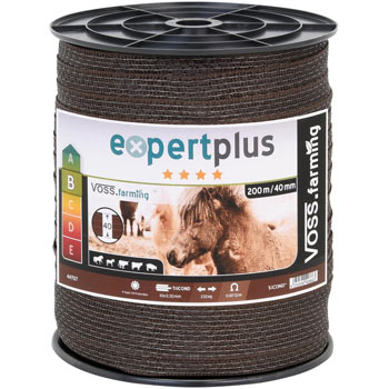 VOSS.farming Electric Fence Tape 200m, 40mm, 10x0.30 FE-ZN-Leg, Brown