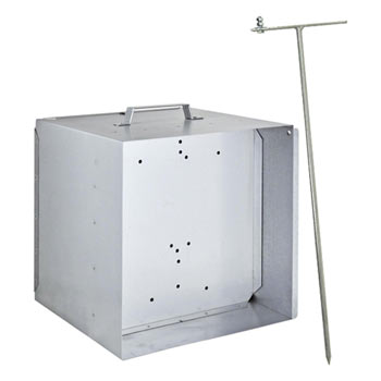VOSS.farming Metal Carry Box for 12V-Battery Energisers incl. Anti-Theft Grounding Rod