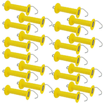 20x VOSS.farming Gate Handle, Large, Simple Tension Spring, Yellow, with Hook