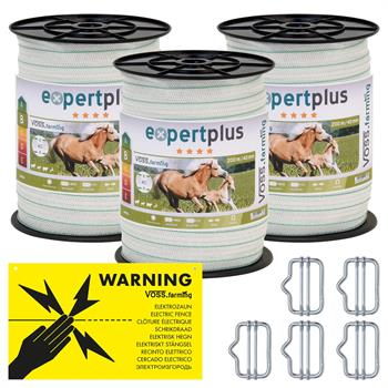 3x Electric Fence Tape 200 m, 40mm, 1x0.20 Cu + 6x0.20 SS, incl. 5x Connectors + Warning Sign