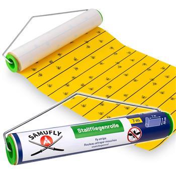SAMUFLY Sticky Fly Roll incl. Metal Holder, 7m x 30cm