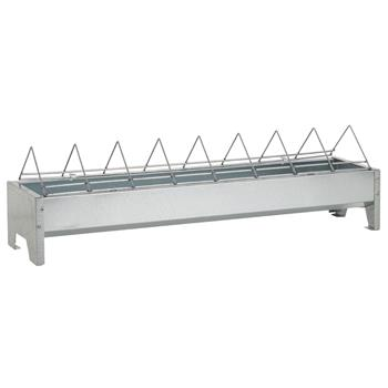 GAUN Galvanised Poultry Feeder Trough, 50 cm, Wire Grille Cover