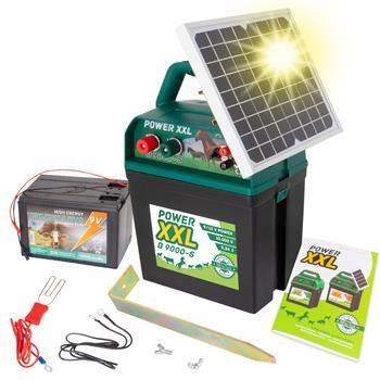 Power XXL B9000 - Electric Fence Hobby Energiser, Solar, 9/12V Battery Powered, incl. 55Ah Battery