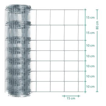 50m VOSS.farming Premium Stock /Game Fencing, Galvanised, Height 80cm, 8/80/15
